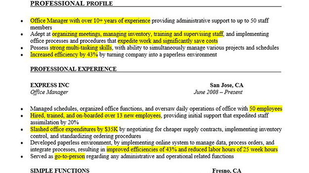 Highlighted Resume